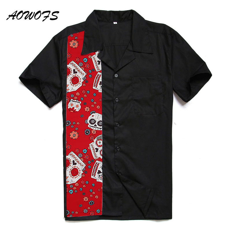 AOWOFS Retro Rockabilly Shirts Men Big and Tall Clothing Cotton Short Sleeve Skulls Halloween Rock N Roll Punk Shirts Plus Size