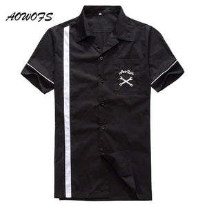 Men's Rockabilly 1950s Style Retro Rocknroll Embroidered Shirts