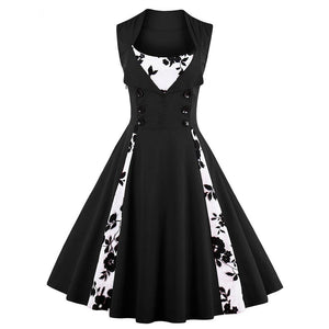 Womens 1950s Vintage Swing Pin Up Sleeveless Pleated Party Dress