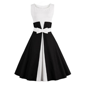 Vintage Style Womens Summer Rockabily A-Line Dress with O-Neck and Belt