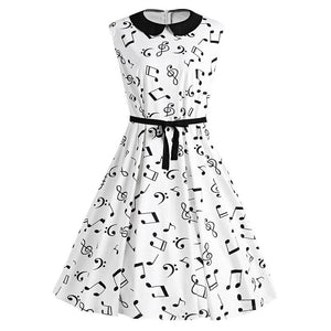 Musical Notes Print in Collared Belted Midi Dress