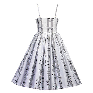 1960s Vintage Music Note Prints in Spaghetti Strap Dress