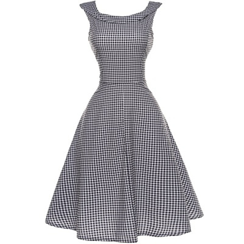 Vintage Plaid O-Neck Rockabilly Retro Dress