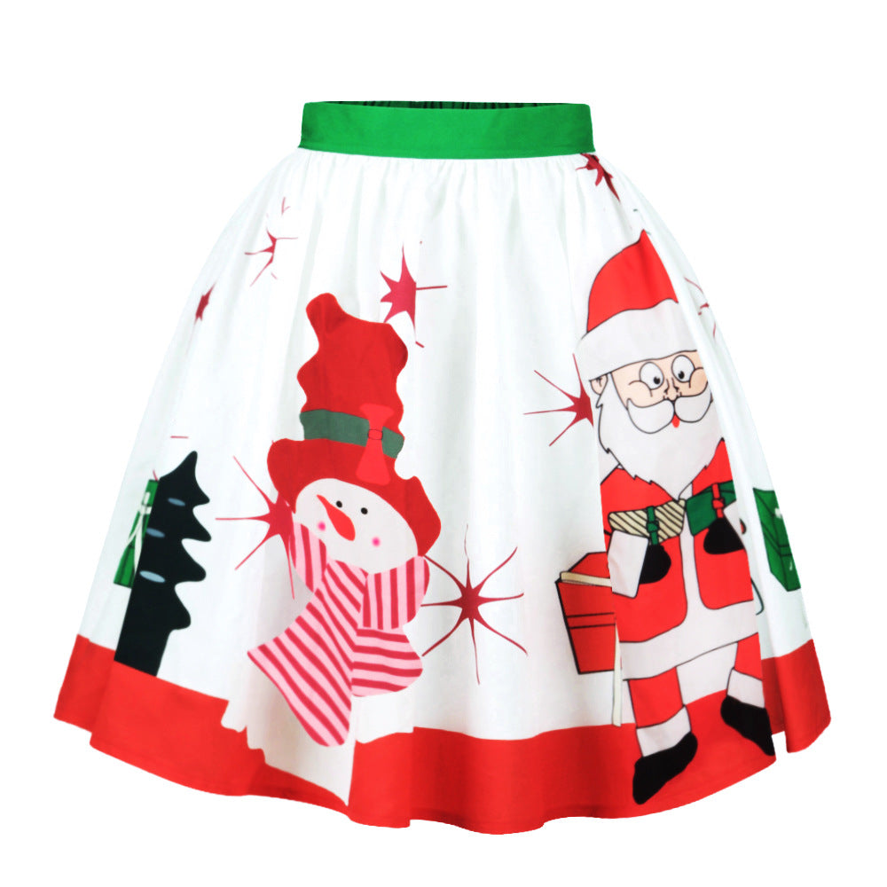 Vintage Retro Santa Claus Christmas Skirt