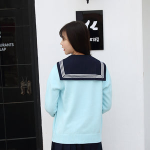 Sky Blue Japan Uniform Sweater Knitwear