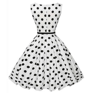 Audrey Hepburn 50s Style Polka Dot Sleeveless Rockabilly Midi Dress