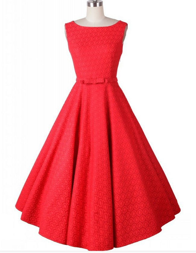 1950s Rockabilly Celebrity Day A-line Slim Bow Dress