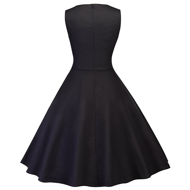 Audrey Hepburn Style Sleeveless Square Collar Lace Bow Vintage Party Dress