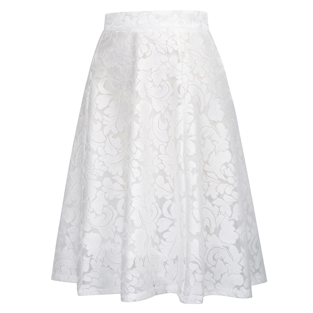 Pleated High Waist  Lace Skirt