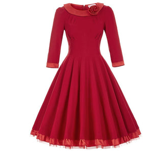 3/4 Sleeve Flower Decorated Vintage Rockabilly Dress