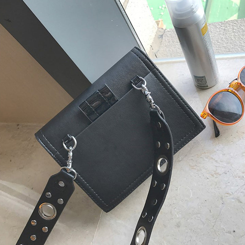 BENVICHED Rivets bag 2017 trend of new personality punk wind small square woman shoulder Messenger bag R323