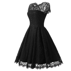 Womens Vintage O Neck Slim Sexy Pin up Rockabilly Lace Dress