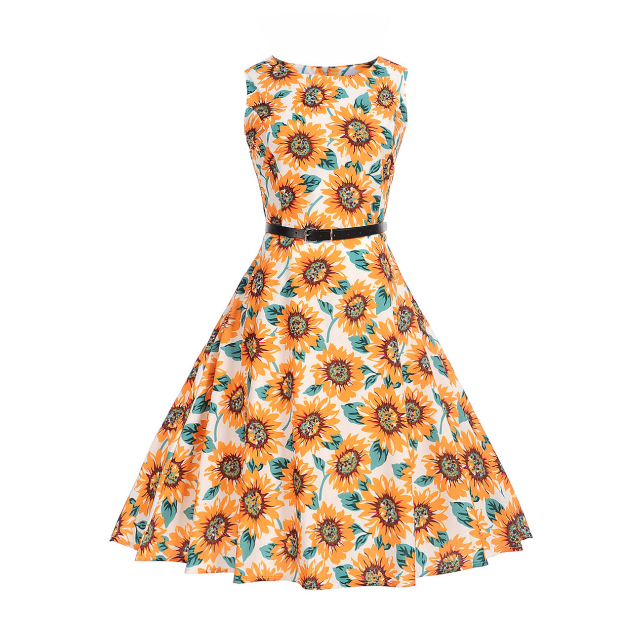 Vintage Style Floral Rockabilly Dress with Belt