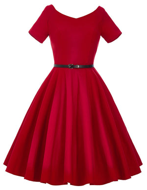 Womens 50s 60s Retro Vintage Rockabilly Elegant Office Dress
