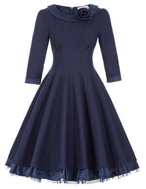 Vintage 3/4 Long Sleeve Rockabilly Swing Dress