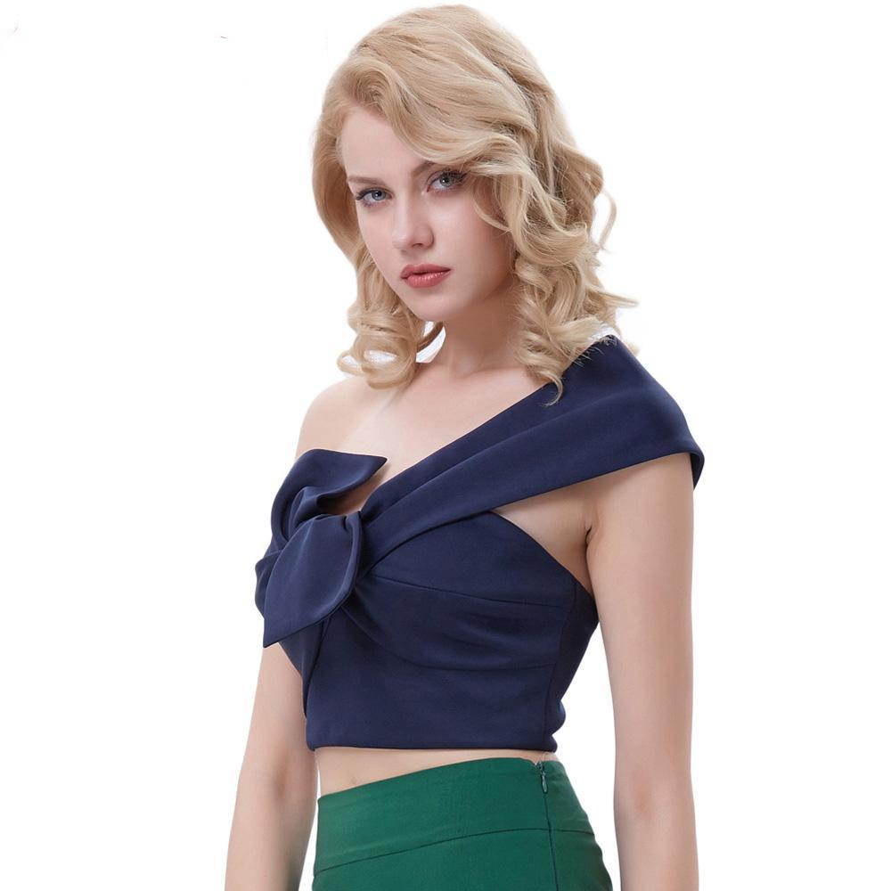 Womens Rockabilly Sexy One Shoulder Asymmetrical Bow Crop Top Blouse