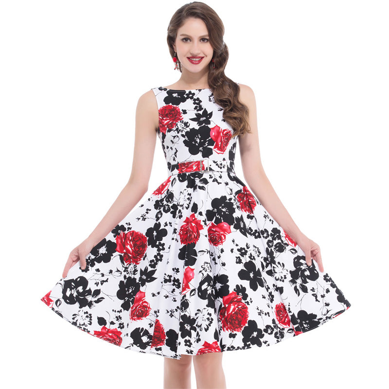 Womens Summer Audrey Hepburn 50s Vintage Rockabilly Party Dress