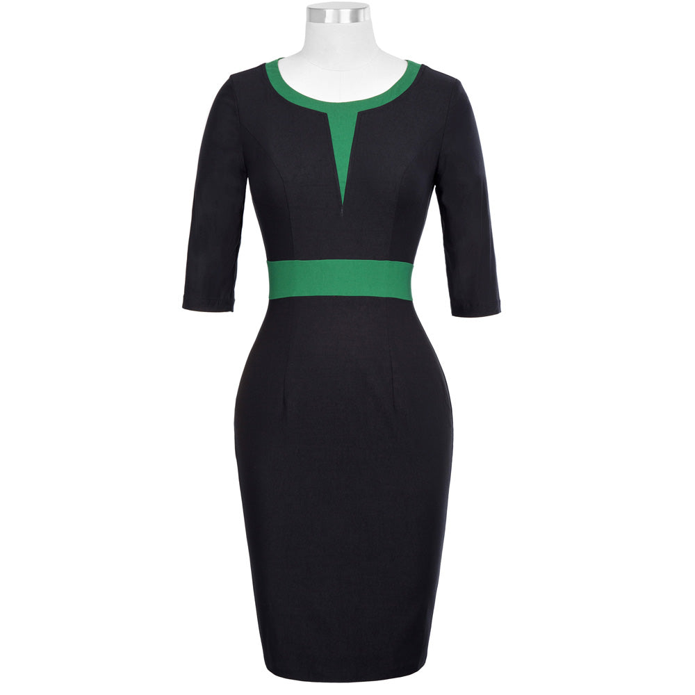 Knee Length Black Patchwork Bodycon Dress
