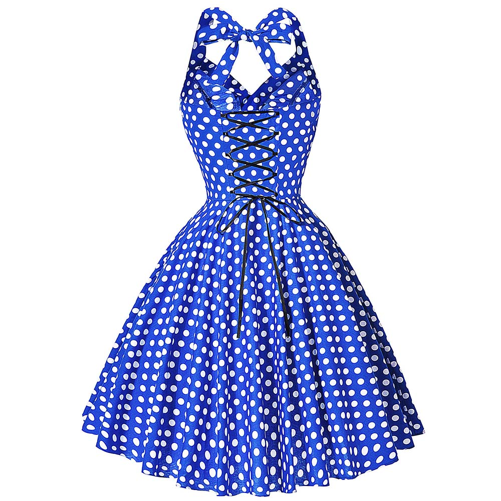 Womens Sexy Summer Rockabilly and Pin Up Polks Dot Beach Dress