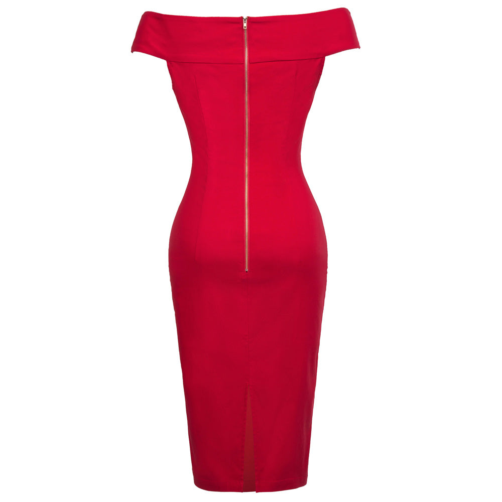 Red Off Shoulder Bodycon Slim Pencil Dress