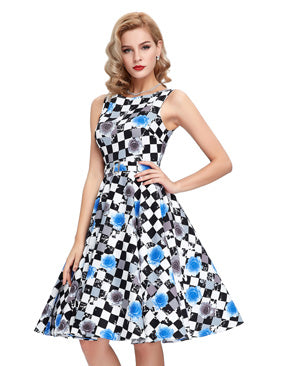 Belle Poque Vintage Dress 50s 60s Rockabilly Sleeveless Floral Print Belt Pinup Vestidos Summer Women O Neck Casual Dresses 2017