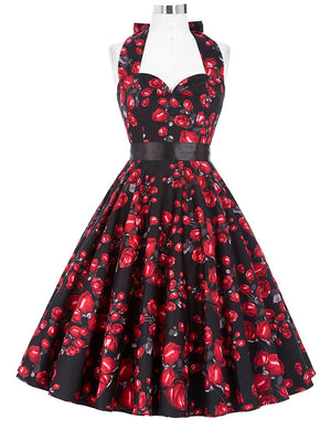 Halter Robe Rockabilly Floral Swing Dress