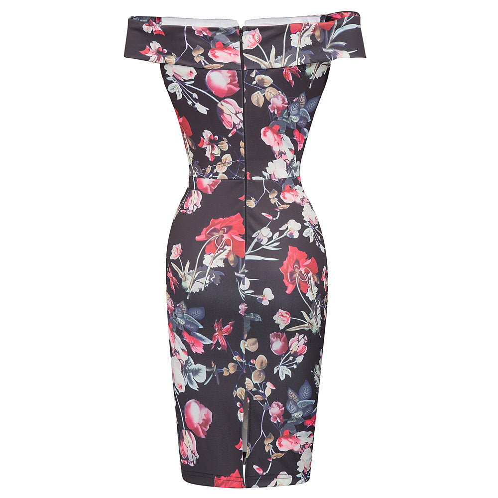 Off Shoulder Floral Print Bodycon Dress