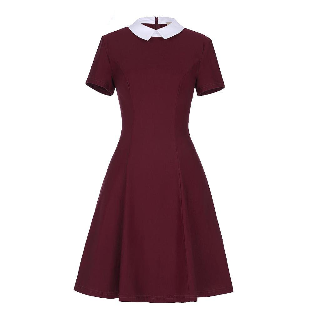 Belle Poque Women Elegant Stand Rockabilly Pin Up Clothes Short Sleeve Office Dress Pencil Vintage Midi Bodycon Summer Dresses