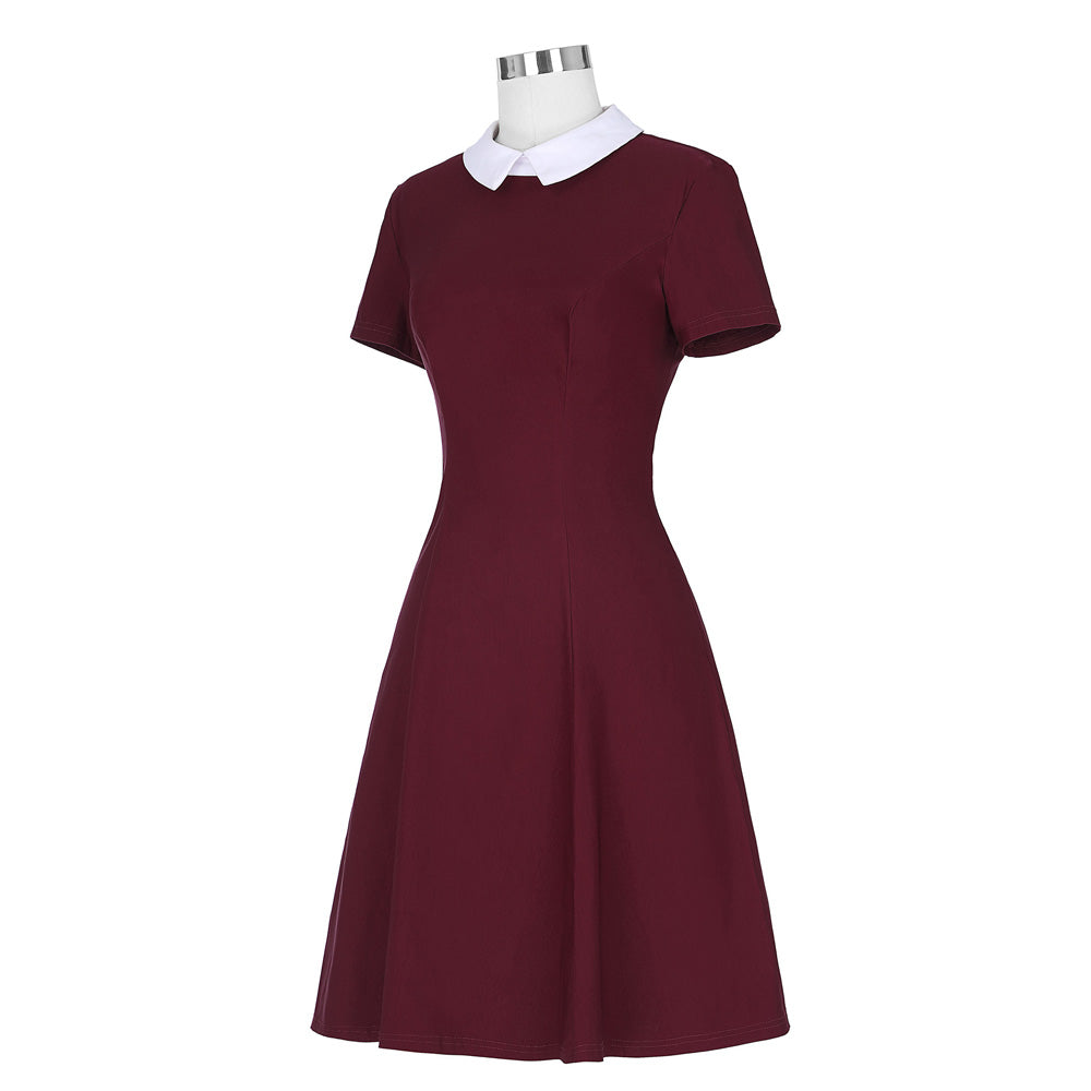Elegant Stand in Peter Pan Collar Vintage Midi Bodycon Dress