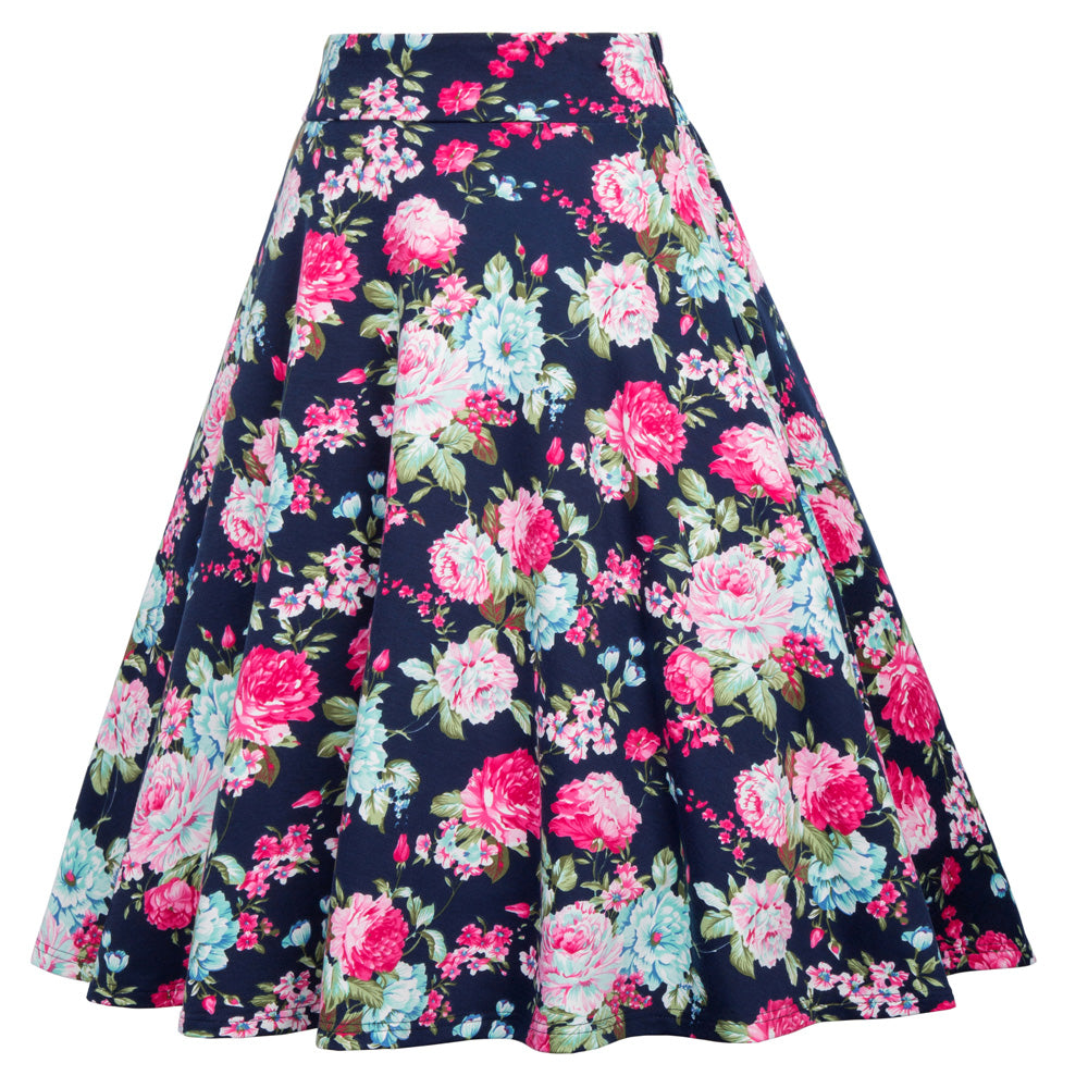 Blue and Pink Floral Print Pattern Skirt