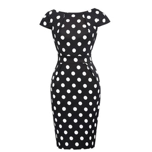 Belle Poque Women Polka Dot Summer Pencil Work Dresses 2017 Vintage Floral Business Office Sheath Sexy Bodycon Rockabilly Dress