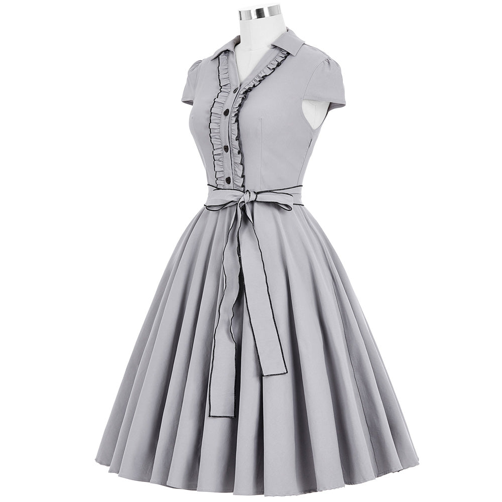 Womens Amber Grey V-Neck Swing Vintage Dresses 50s Dress