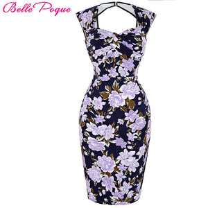 Sexy Sleeveless Floral Office Bodycon Dress