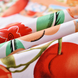 1950s Summer Vintage Dress in Tomato and Floral Prints