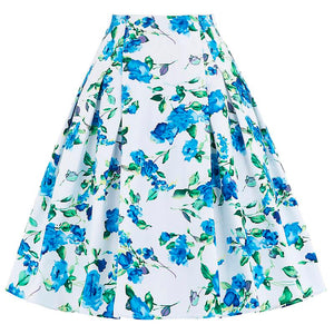 1960s High Waist Rockabilly Floral Print Femme Skirt