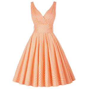 1950s Maggie Tang Vintage Swing Polka Dot Rockabilly Dress
