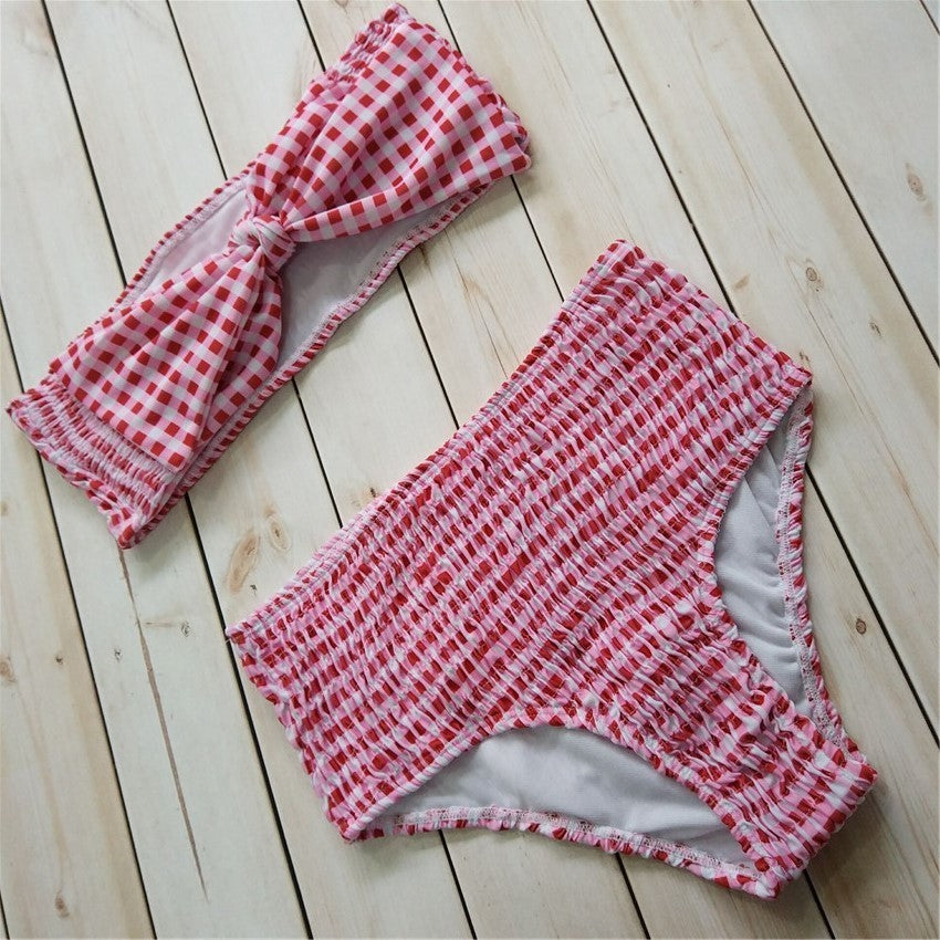 High Waist Bandeau Bow Tie Swimsuit