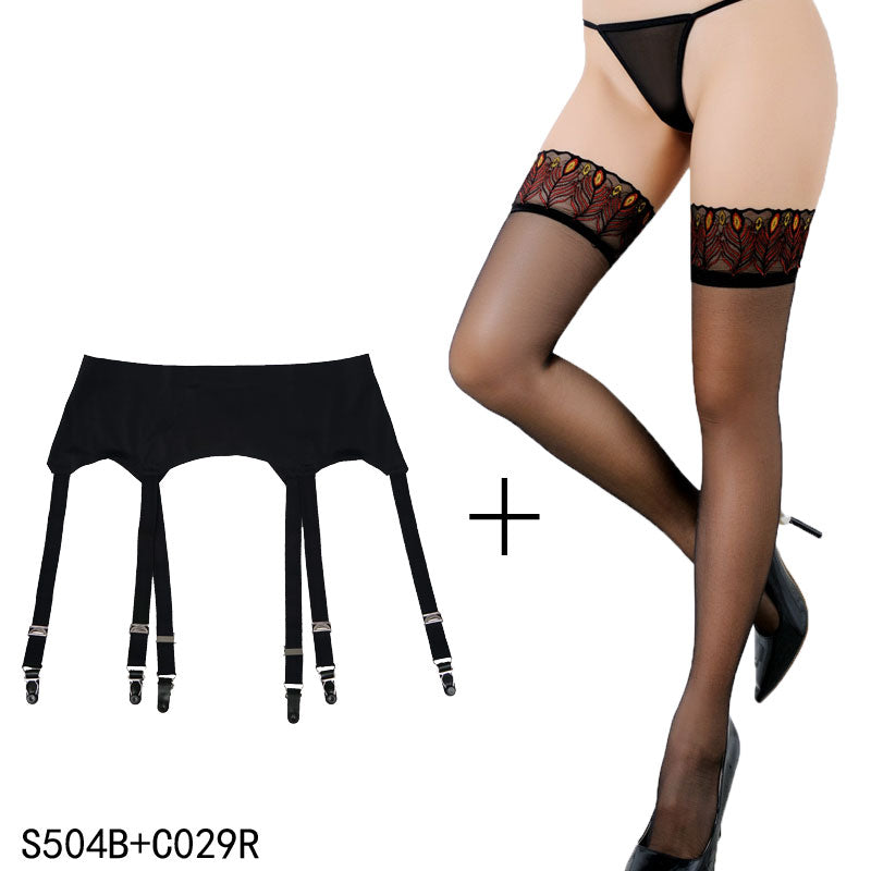 Vintage 6 Wide Straps Sexy Metal Clips Garter Belts with Black Stocking Set