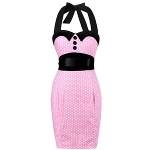 Audrey Hepburn Polka Dot Halter Rockabilly Bodycon Pencil Dress