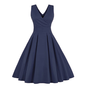 Plain Vintage Mid Calf Swing Dress
