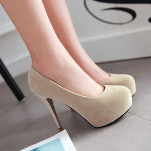 Vintage High Heels Slip-on Shoes Heeled Sexy Round Toe