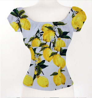 Womens Rockabilly Summer Low Back Yellow Lemon Print Off Shoulder Ruffled Blouse