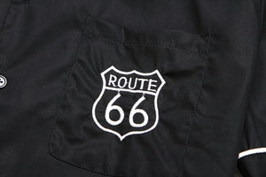 Mens 1950's Embroidered Route 66 Rockabilly Shirt
