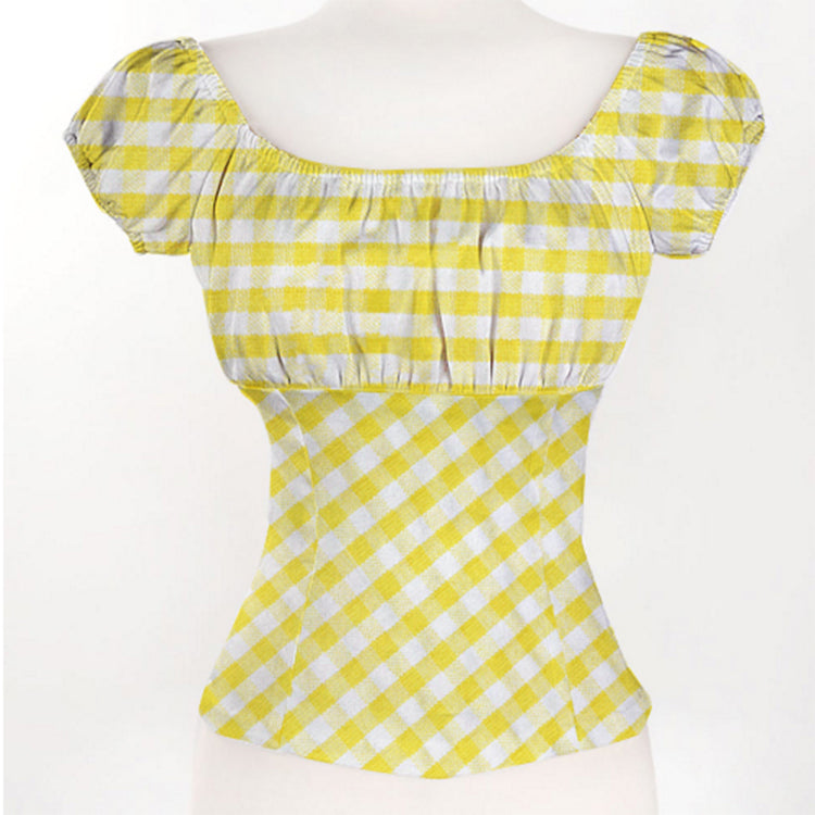 Yellow Boho Chic Off Shoulder Plaid Top