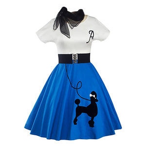 Casual Short Sleeve Women Vintage Rockabilly Swing Poodle Dress 50's 60's Belted Dress