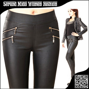 Mid Elastic Waist Skinny Pencil Pants