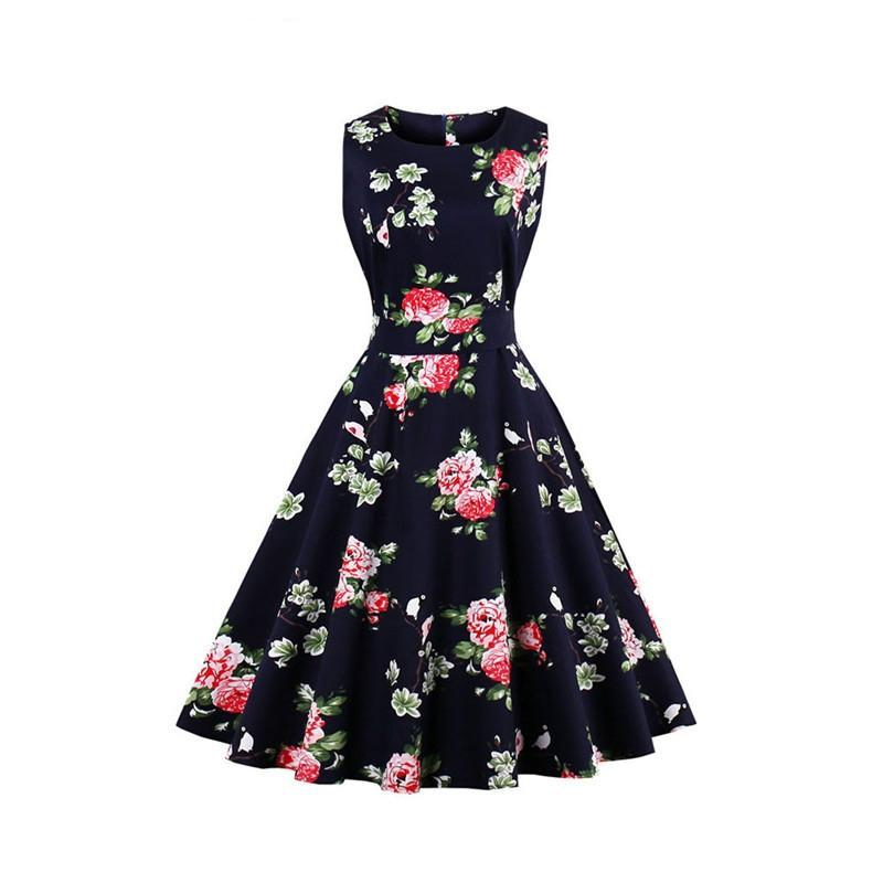 Womens Vintage 1950's Black Rose Rockabilly Swing Dress