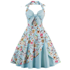 Womens Floral Print Pin Up Halter Rockabilly Summer Dress