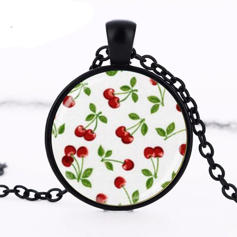 Cherry necklace rockabilly jewelry glass bezel ary pendant HZ1