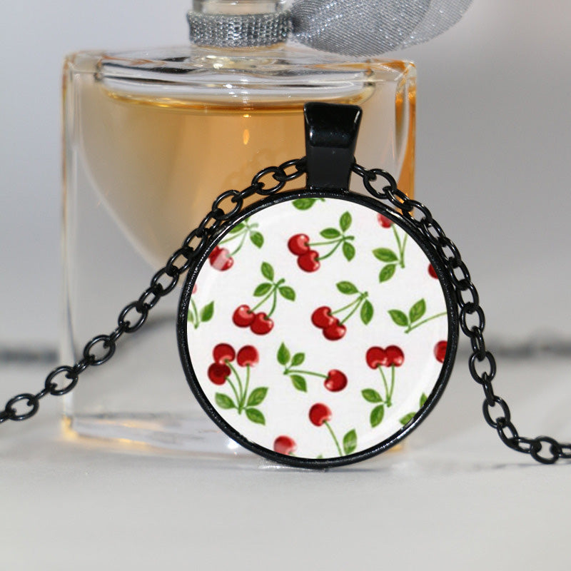 Cherry Necklace Rockabilly Pendant